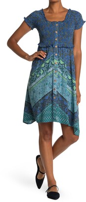Angie Paisley Smocked Bodice Handkerchief Hem Midi Dress