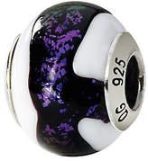 Murano Prerogatives Sterling Purple & White Italian Glass Bead