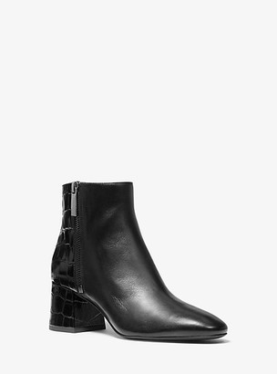 Michael Kors Alane Leather and Crocodile-Embossed Ankle Boot