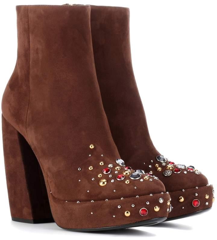Prada Suede plateau ankle boots