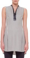 Akris Punto Sleeveless Striped Zip-Front Tunic, Cream/Black