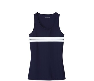Tory Burch Reflective-Stripe Mesh Tank