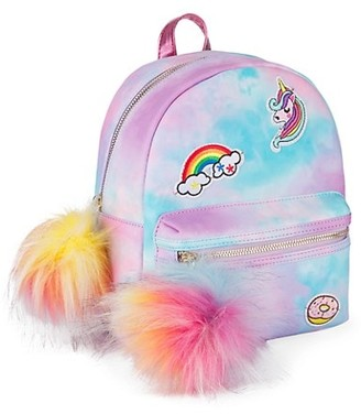 Under One Sky Embroidered Patches Tie-Dye Backpack with Pom-Poms