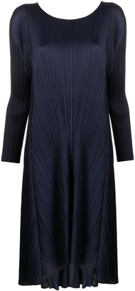 Pleats Please Issey Miyake back cord-tie pleated midi dress