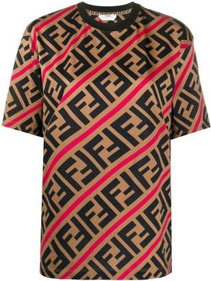 Fendi diagonal FF motif print T-shirt