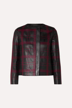 Akris Caleesi Embroidered Perforated Leather Jacket - Black