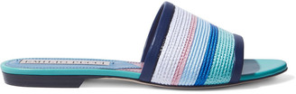 Emilio Pucci Leather-trimmed Striped Faux Raffia Slides