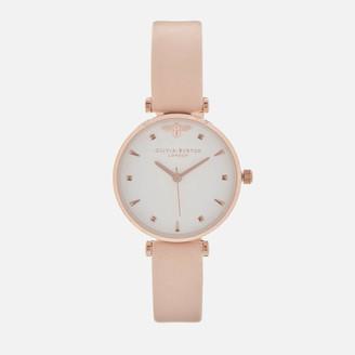 Olivia Burton Women's Queen Bee T-Bar Watch - Nude Peach/Rose Gold
