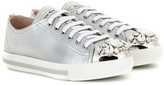 Miu Miu Crystal-embellished Leather Sneakers