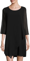 Design History Chiffon-Sleeve Shift Dress, Black