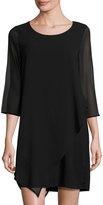 Neiman Marcus Chiffon-Sleeve Shift Dress, Black