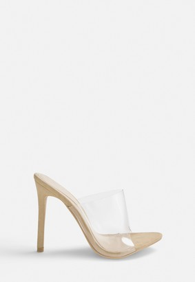 Missguided Stassie X Nude Pointed Clear Mules