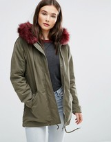 Brave Soul Parka With Faux Fur Trim Hood