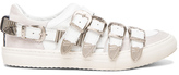 Toga Pulla Buckled Leather Sneakers in White.