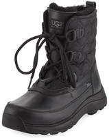 UGG Lachlan Quilted Lace-Up Duck Boot, Black