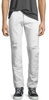 Diesel Buster 0680K Tapered Jeans with Distressing, White