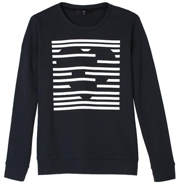 Tibi Heart Stripe Sweatshirt-Black