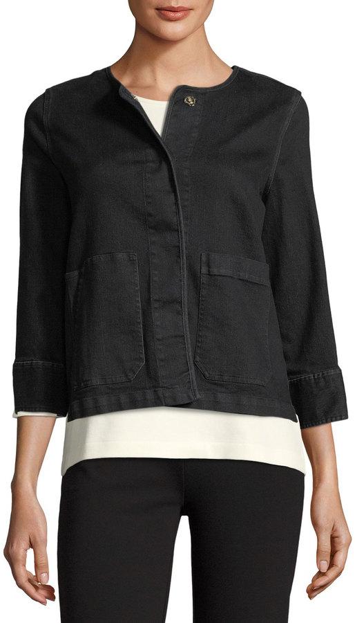 Joan Vass 3/4-Sleeve Denim Jacket