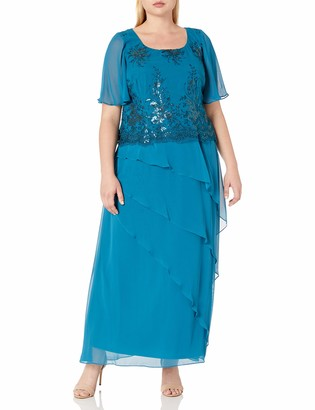 Le Bos Women's Plus Size Scallop Hem Embroidered Long Tiered Dress