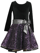 Bonnie Jean Girls' 12M-16 Purple/Black Velvet Floral Print Dress