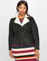ELOQUII Plus Size Faux Suede Shearling Moto Jacket