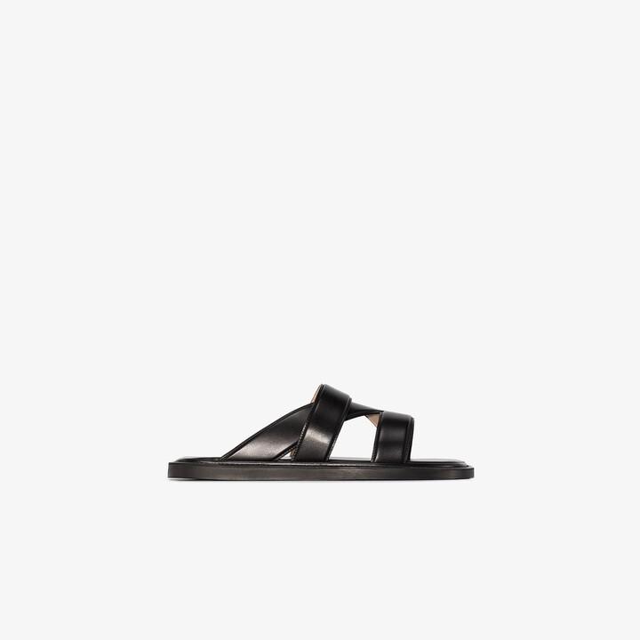 Bottega Veneta black Band leather sandals