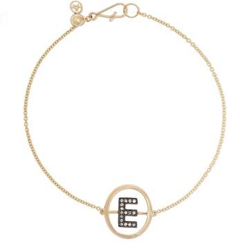 Annoushka 18kt yellow gold diamond initial E bracelet