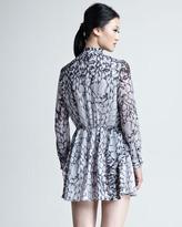 Thakoon Mixed-Print Ruffled Dress