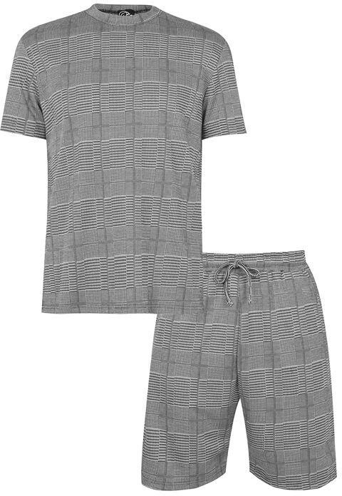 Thumbnail for your product : Fabric Grey Check T-shirt and Shorts Loungewear Co-Ord Set