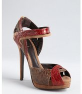 Fendi red and brown snake embossed leather strapped platform sandals