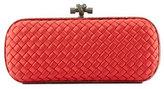 Bottega Veneta Elongated Knot Intrecciato Minaudiere Bag, Red