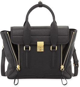 3.1 Phillip Lim Pashli Medium Zip Satchel Bag, Black