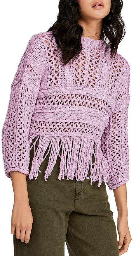 Free People Higher Love Fringed Crochet Sweater