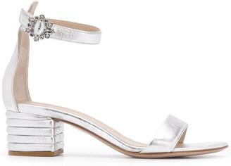 Le Silla Metallic Embellished Buckle Sandals