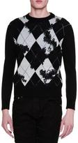 Alexander McQueen Argyle Long-Sleeve Crewneck Sweater, Black