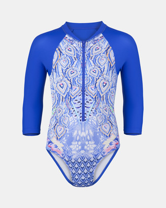 Escargot - Girl's Blue One-Piece Swimsuit - Peacock Sunsuit - Size One Size, 14 at The Iconic