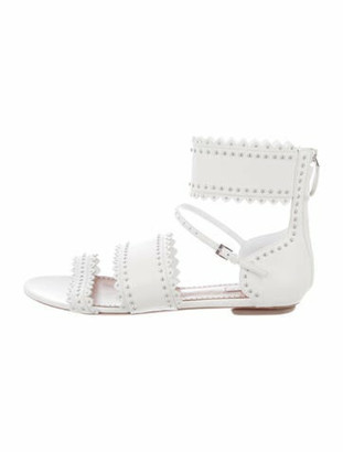 Alaia Leather Studded Accents Gladiator Sandals White