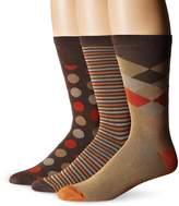 Muk Luks Men's Stripe Dot Crew Socks