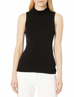Anne Klein Women's Ruffle Neck Sleeveless Pullover Sweater