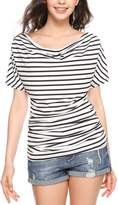 Meaneor Women Short Sleeve Off Shoulder Striped Cotton Top T-shirt Blouse L