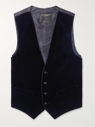 Favourbrook Navy Grosgrain-Trimmed Cotton-Velvet Waistcoat