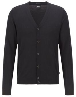 BOSS V-neck cardigan in extra-fine Italian merino wool