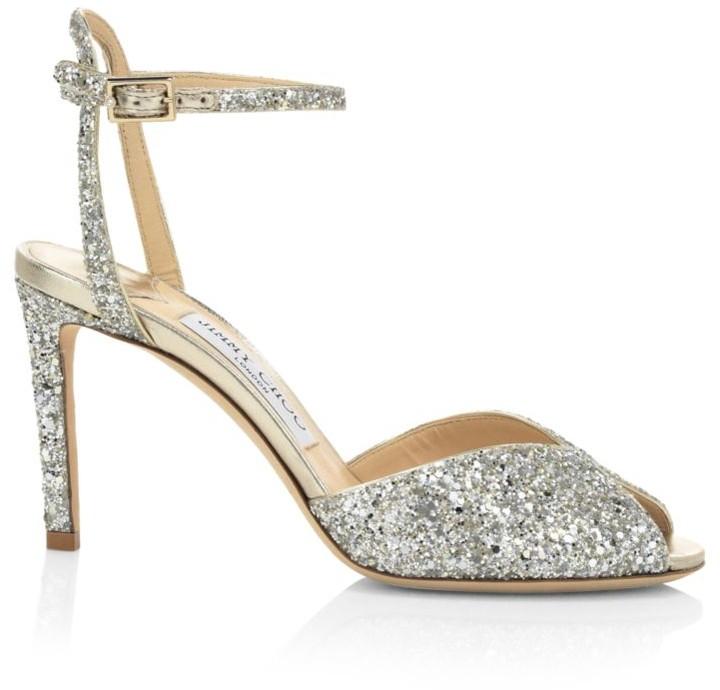 Jimmy Choo Sacora Peep-Toe Glitter Sandals