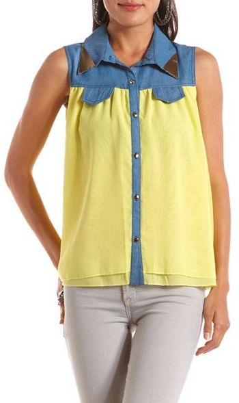 Charlotte Russe Metallic Collar Denim & Chiffon Top