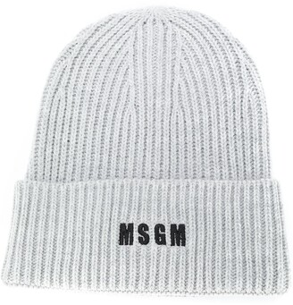 MSGM Logo-Embroidered Ribbed Knit Beanie