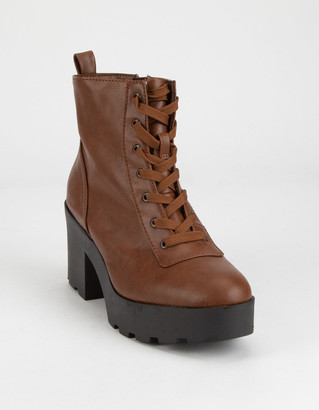 Bamboo Chunky Lug Sole Lace Up Chestnut Womens Boots