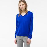 Paul Smith Women's Blue Cotton V-Neck Sweater