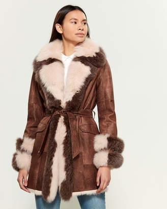 Intuition Paris Naomi Real Fur-Trimmed Leather Coat