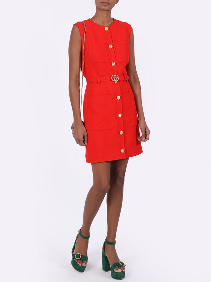Gucci Sleeveless Belted Dress