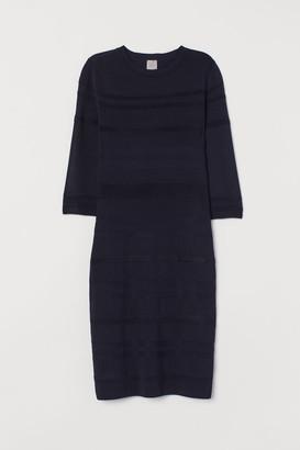 H&M Textured-knit Dress - Blue
